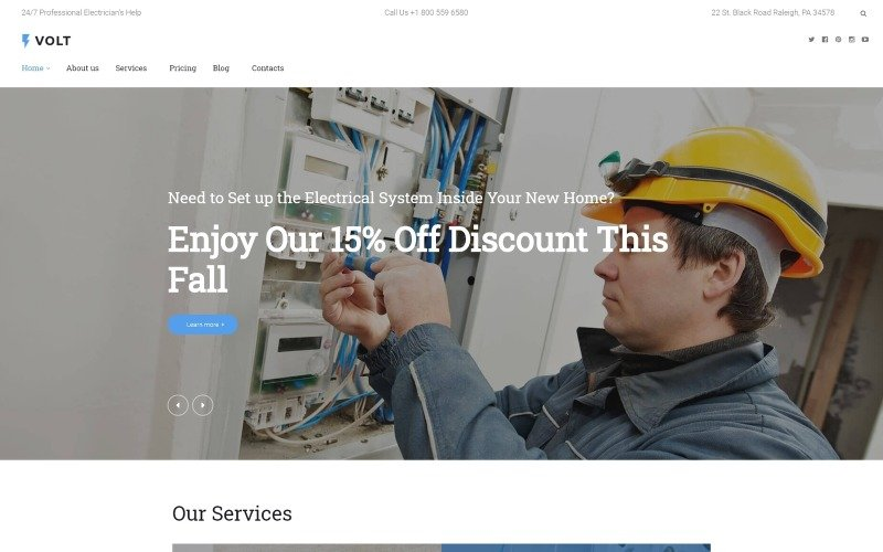 Volt - Local Electrical Service WordPress Theme