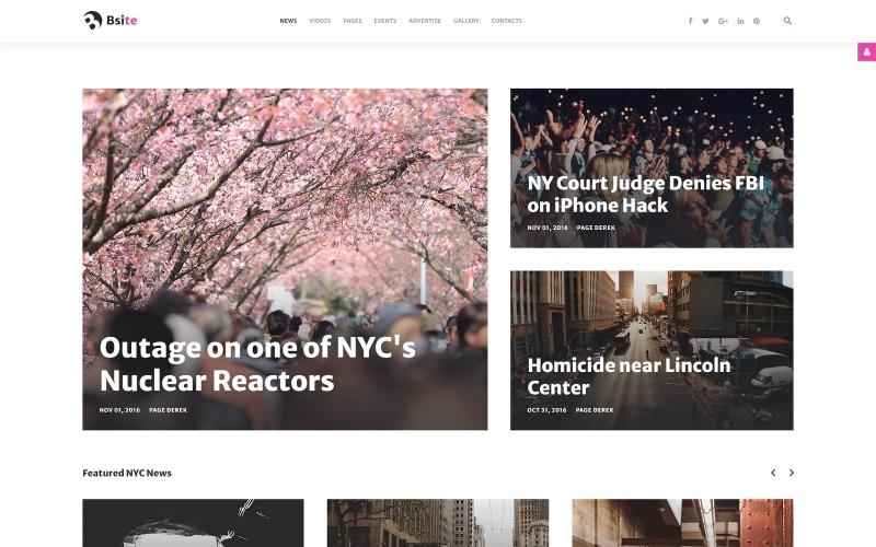 Bsite - Адаптивный современный шаблон Joomla для новостного портала