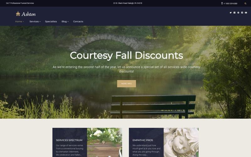 Ashton - тема WordPress для похорон и кладбищенских услуг