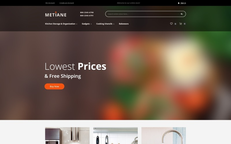 Metiane - Kitchen Supply Magento Theme