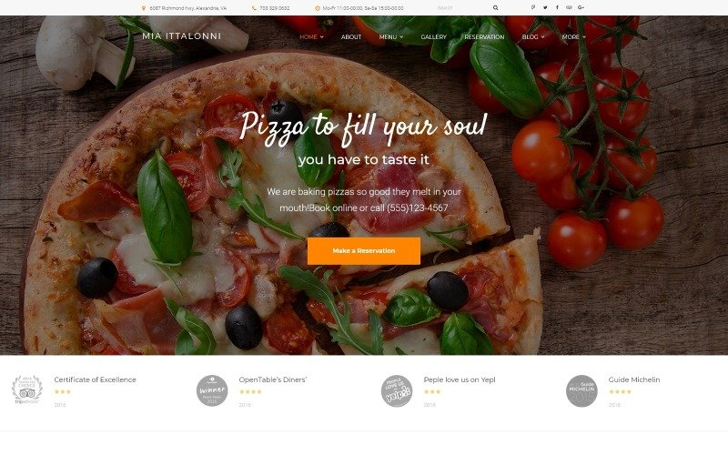 Mia Ittalloni-免费的WordPress餐厅主题WordPress主题
