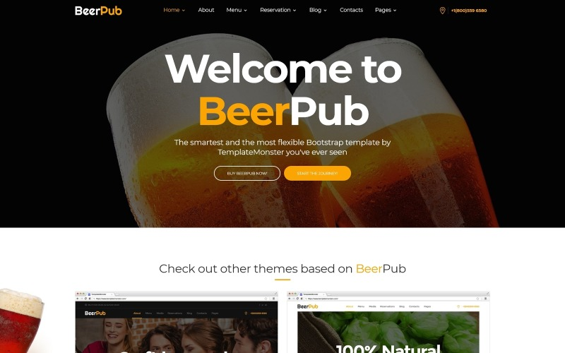 BeerPub - Modello di sito Web multipagina per cibo e ristoranti