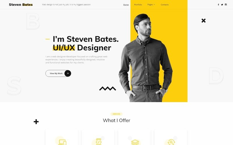 Steven Bates - Personal Page Multipage Modern HTML Website Template