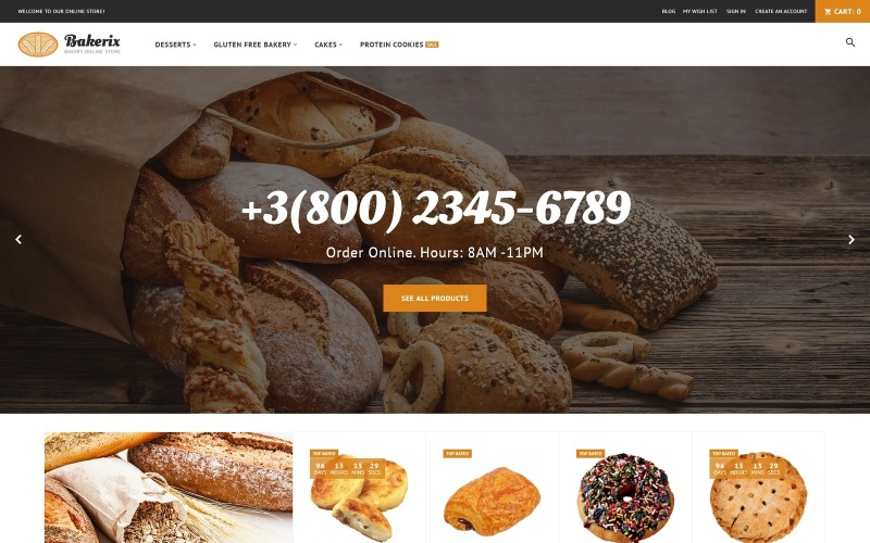 Bakerix-面包和蛋糕响应式Magento主题