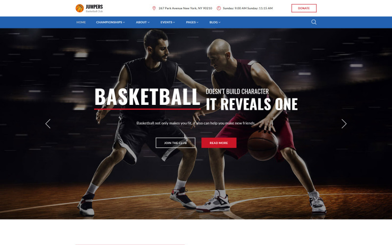 Jumpers - Basketball Club Responsive Multipage Website Mall