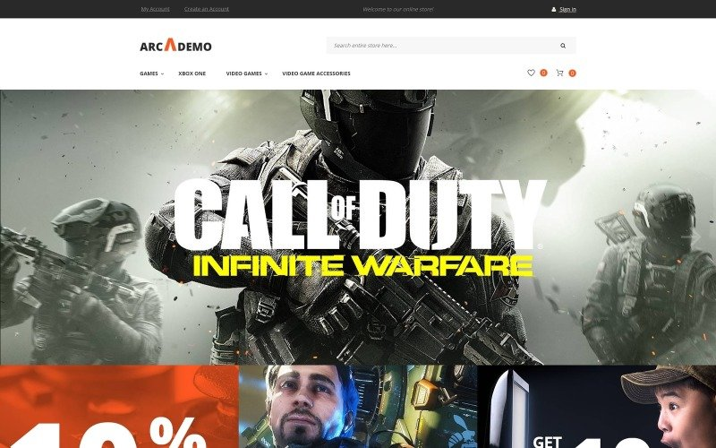 Arcademo - Obchod s videohrami Reagovat na téma Magento