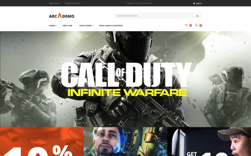 Arcademo - Videojáték-üzlet érzékeny Magento téma