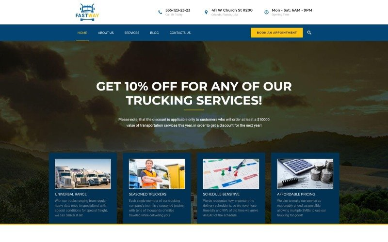 FastWay - адаптивная тема WordPress для транспортной компании