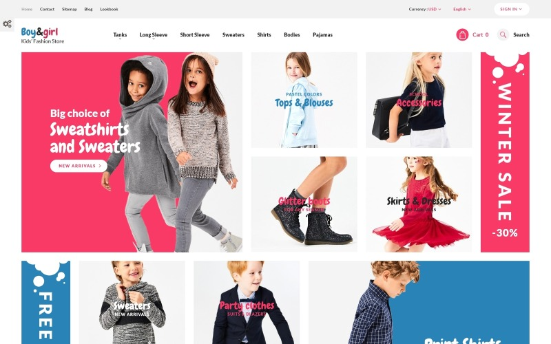 Niño y niña - Tema de PrestaShop sensible a la moda infantil