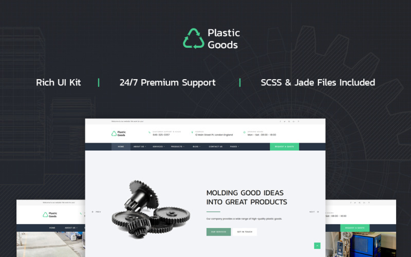 Пластмасові вироби - шаблон багатосторінкового веб-сайту для бізнесу