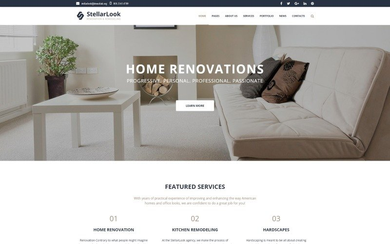 StellarLook - Renovation & Interior Design WordPress Theme