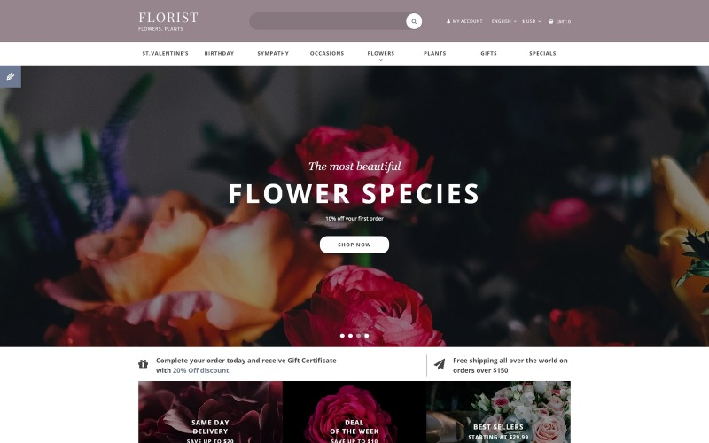 Modèle OpenCart réactif de magasin de fleurs