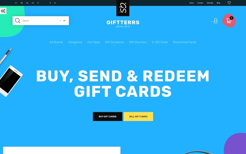 Giftterrs - Gift Cards for Any Purpose PrestaShop Theme