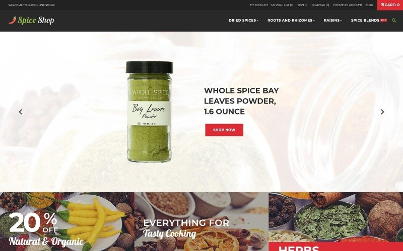 Spices Store - Spices Bootstrap Template Magento Teması