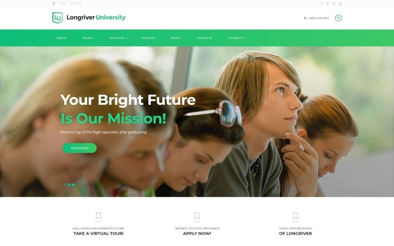 Longriver University Responsive WordPress Theme