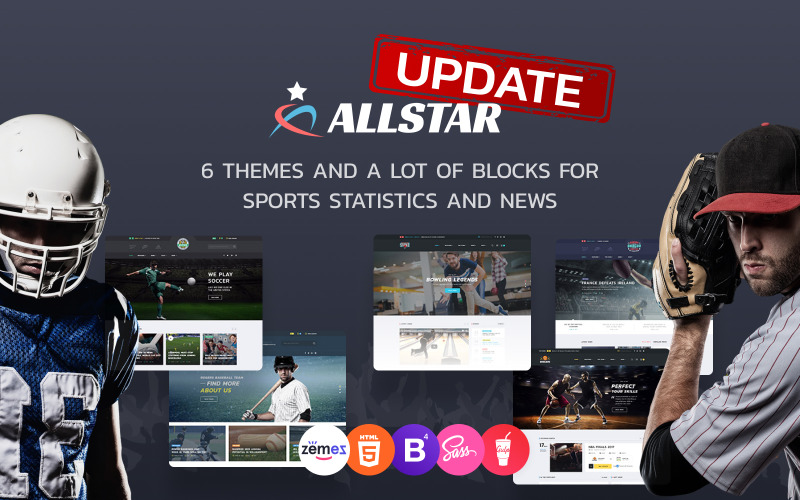 ALLSTAR - Sport Multipurpose Bootstrap 4 Website-Vorlage