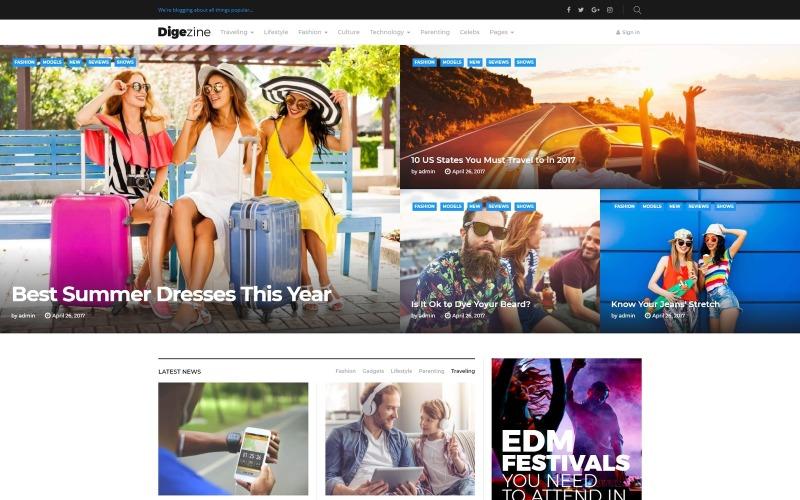 Digezine - тема WordPress для новостного журнала
