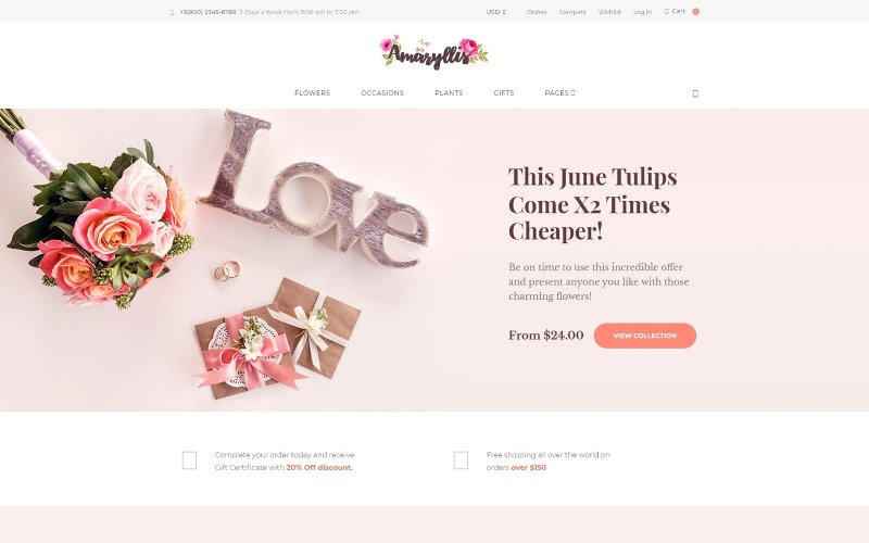 Амариллис - тема WooCommerce для цветочного магазина