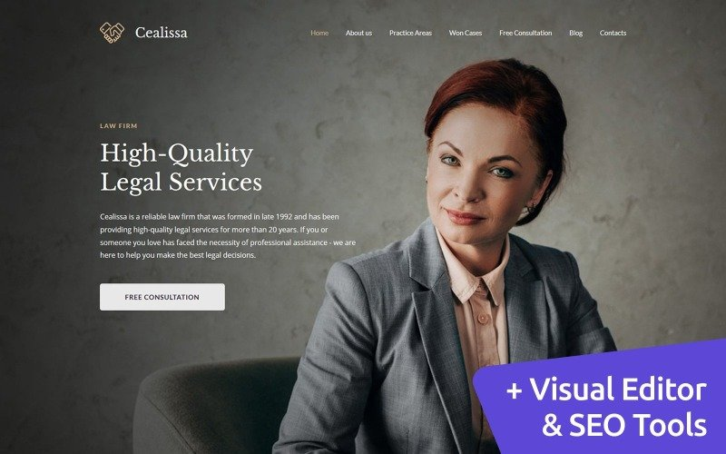 Cealissa - Lawyer & Attorney Premium Moto CMS 3 Template