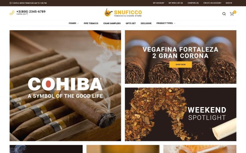 Snuficco - obchod s tabáky a doutníky Responzivní téma Magento 2 Téma Magento