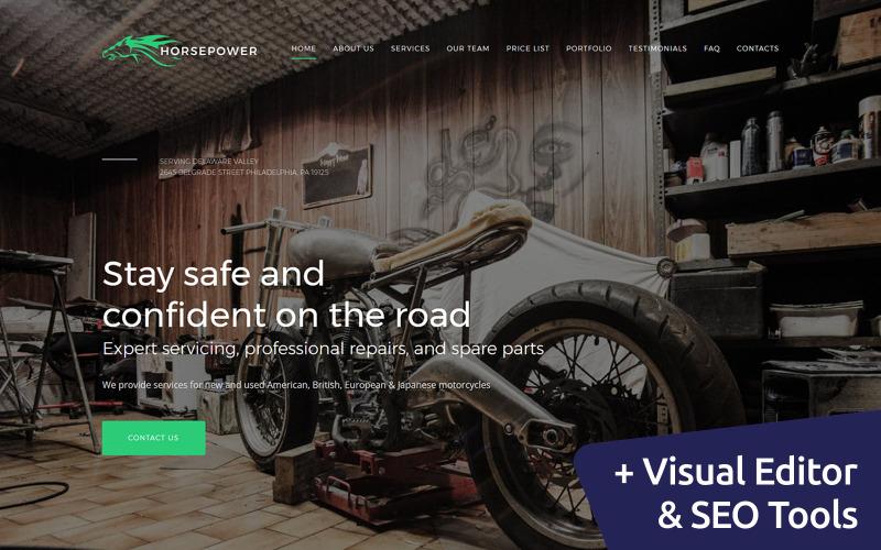 Лошадиная сила - Ремонт мотоциклов Премиум Moto CMS 3 Шаблон