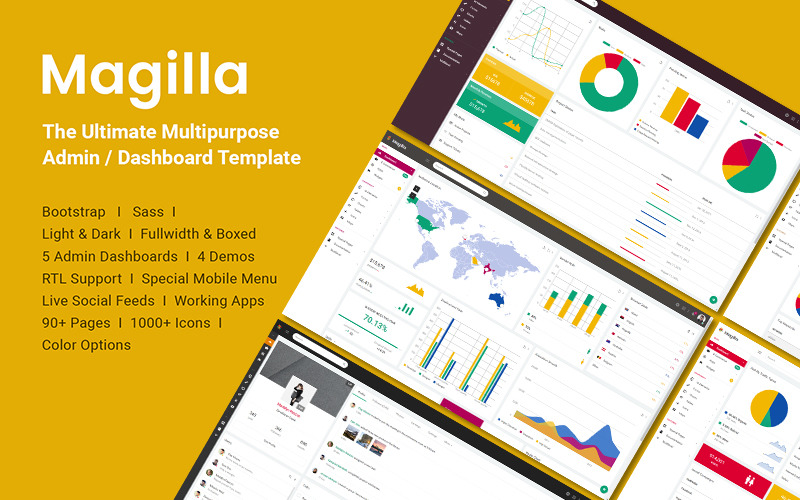 Magilla - De ultieme multifunctionele dashboard- / beheerderssjabloon