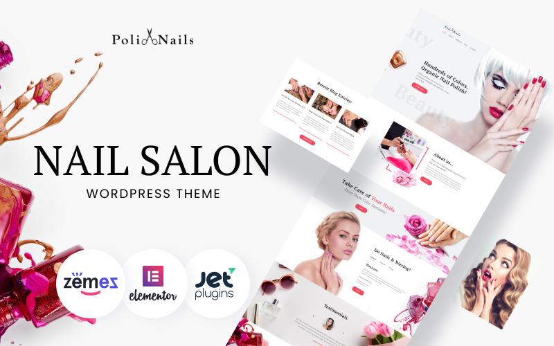 Poli Nails - Salon de manucure avec grands widgets et thème WordPress Elementor
