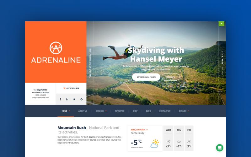 Adrenaline - dla firm zajmujących się sportami adrenalinowymi Motyw WordPress