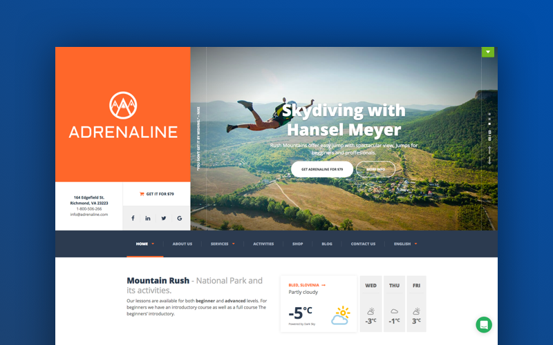 Adrenaline -  for adrenaline sports businesses WordPress Theme