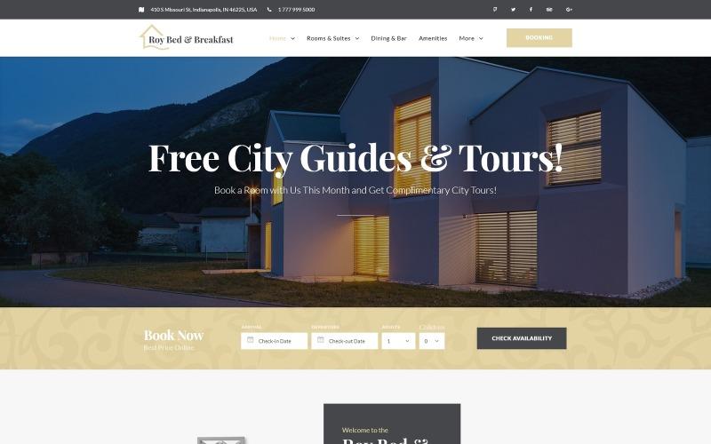 Roy Bed & Breakfast - WordPress тема для небольшой гостиницы