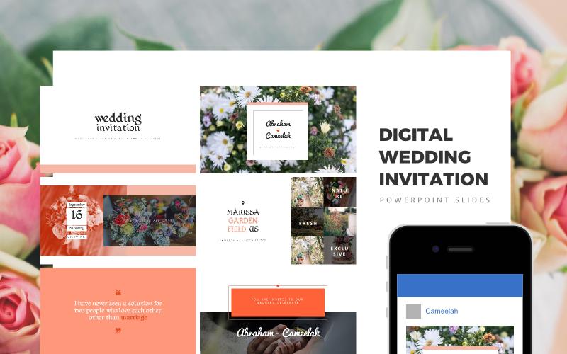 Plantilla de PowerPoint - invitación de boda digital, invitación de boda, regalo de boda
