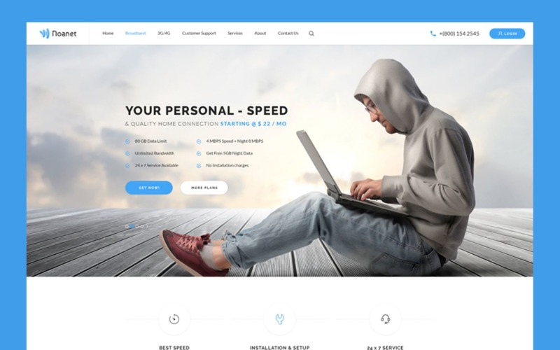 Noanet Internet Provider and Digital Network Website Template