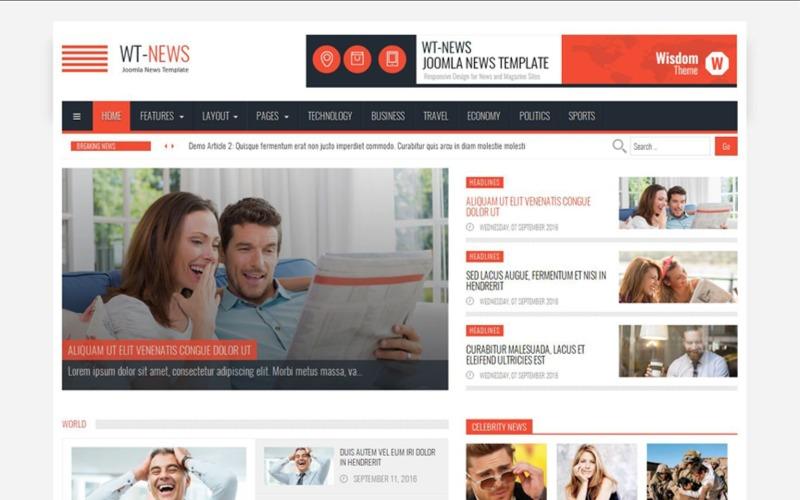 Plantilla Joomla de noticias y revistas de WT-News