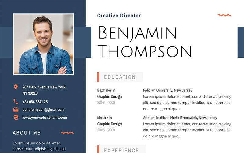 Benjamin Thompson - Plantilla de currículum elegante multipropósito