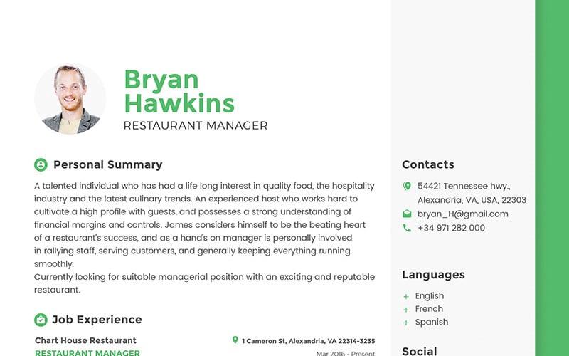Bryan Hawkins - Restaurant Manager Resume Template