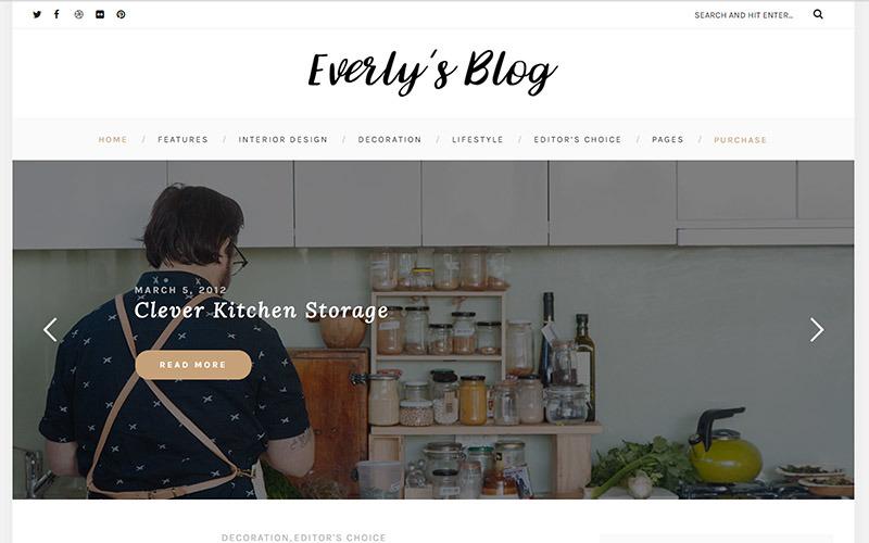 Everly - хипстерская тема WordPress для блогов