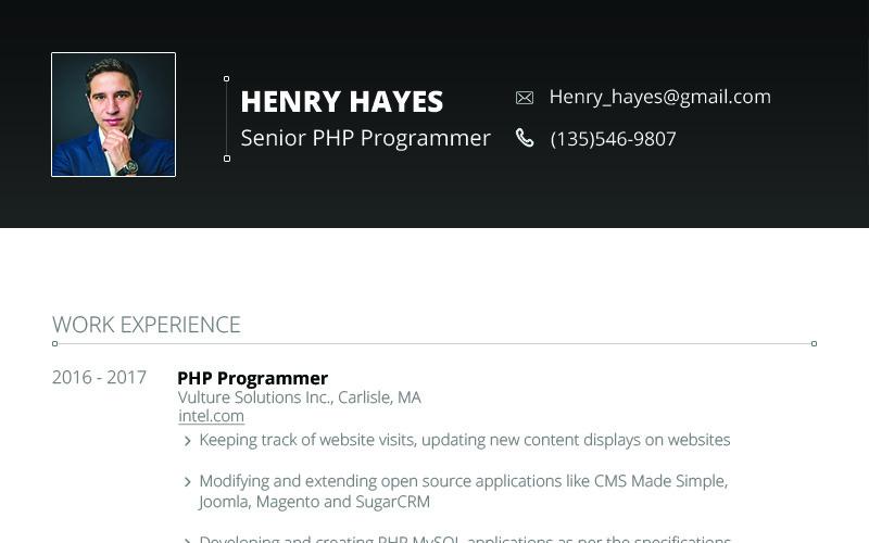 Генри Хейс - шаблон резюме веб-разработчика