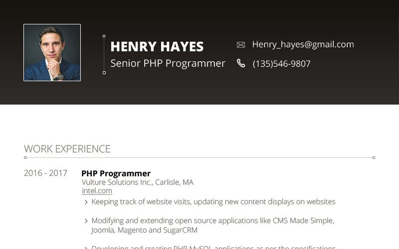 Henry Hayes - Web Developer Resume Template
