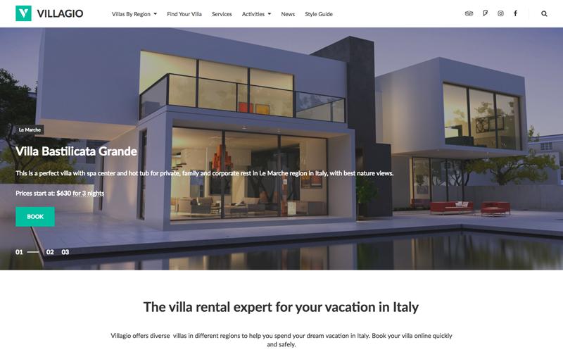 Tema WordPress de reserva de propiedades - Vilagio