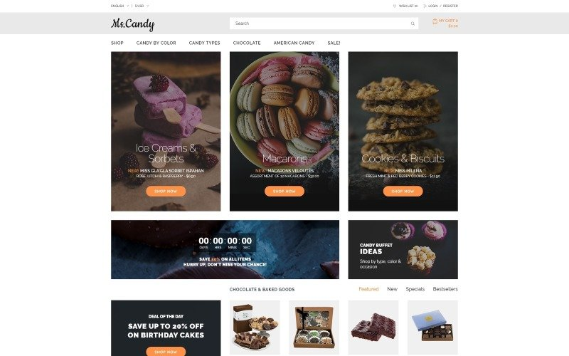 Адаптивный OpenCart шаблон Sweet Shop
