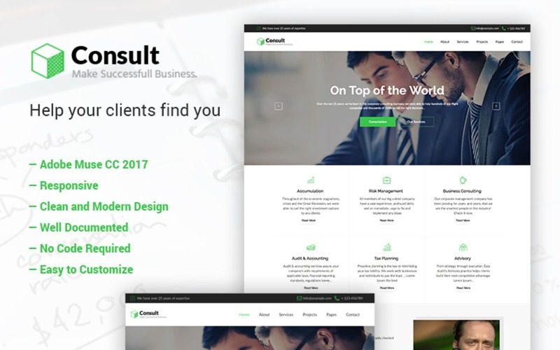 Consult - Бізнес-консалтинг Adobe CC 2017 Muse шаблон