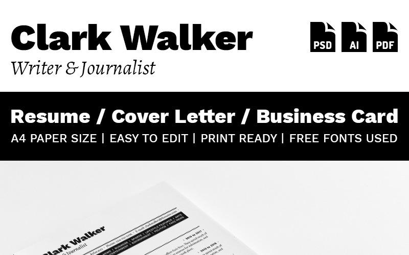 Кларк Уокер - шаблон резюме писателя и журналиста