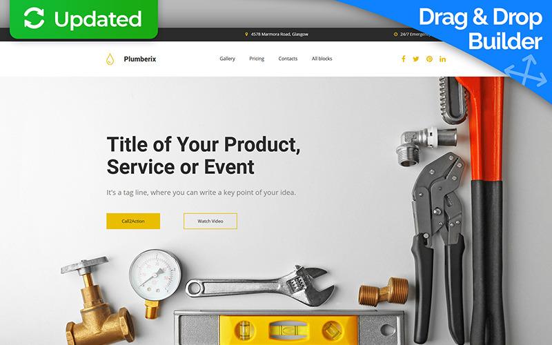 Plumberix - Plumbing MotoCMS 3 Açılış Sayfası Şablonu