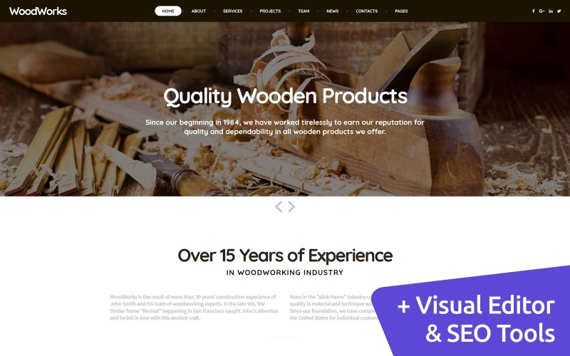 WoodWorks - Furniture Factory Moto CMS 3 Template
