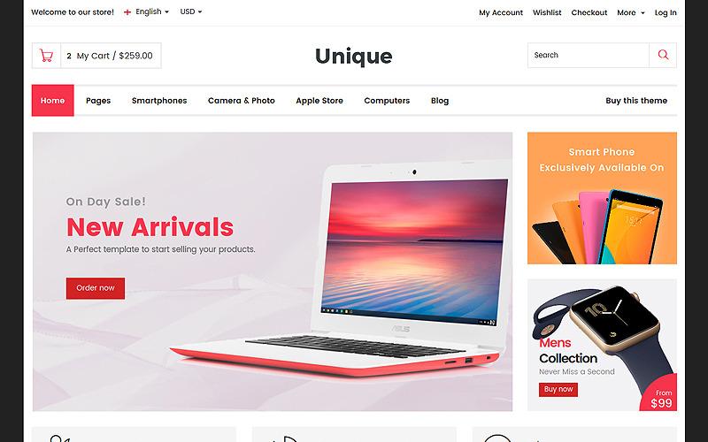 Unico - Modello di sito web per negozio elettronico e digitale