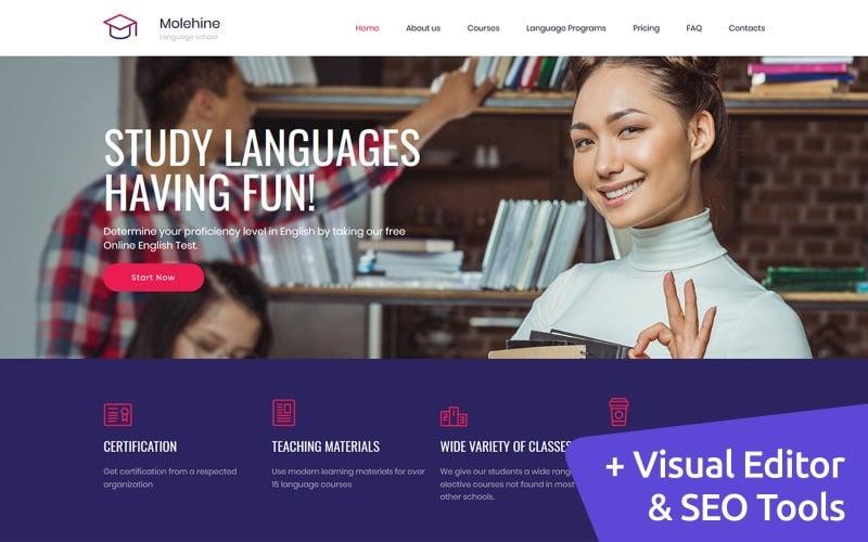 Molehine - Language School Premium Moto CMS 3 Template