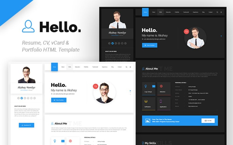 Hello Resume Cv Vcard Portfolio Website Template 65537