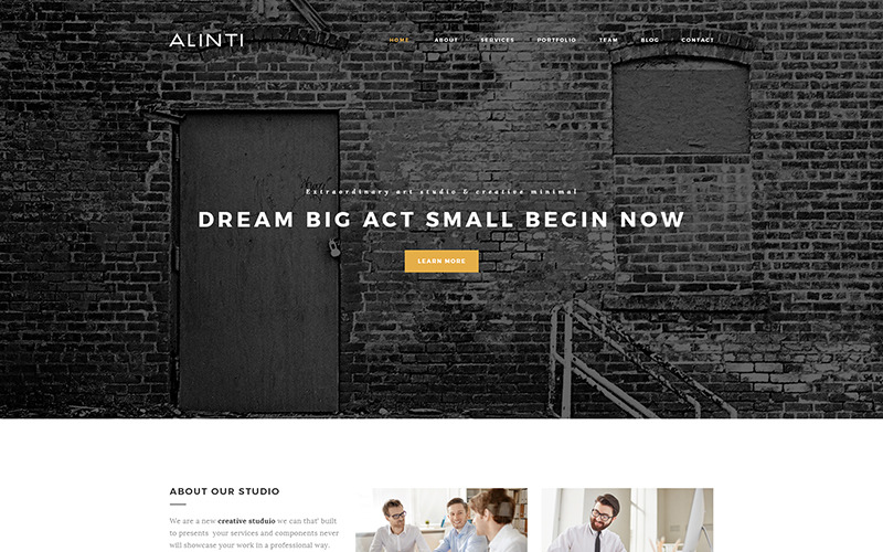 Alinti - тема WordPress для минимального творческого портфолио