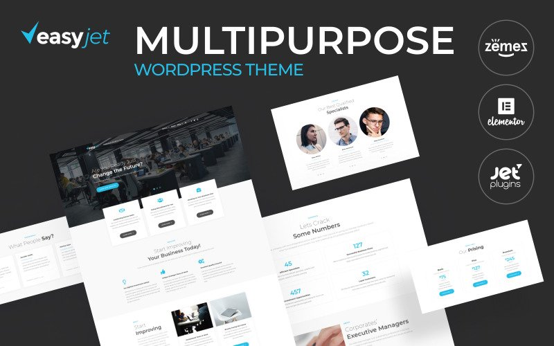 EasyJet - Tema WordPress de várias páginas iniciais