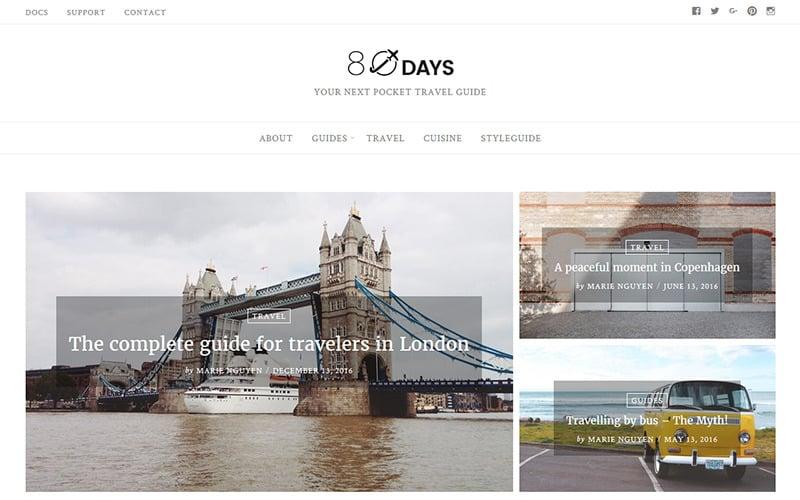 EightyDays - тема WordPress для блога о путешествиях